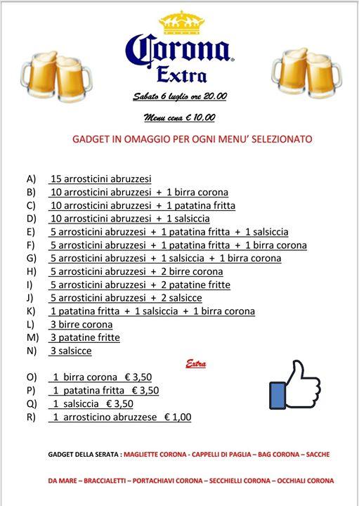 Festa della birra CORONA Menu cena da € 10,00